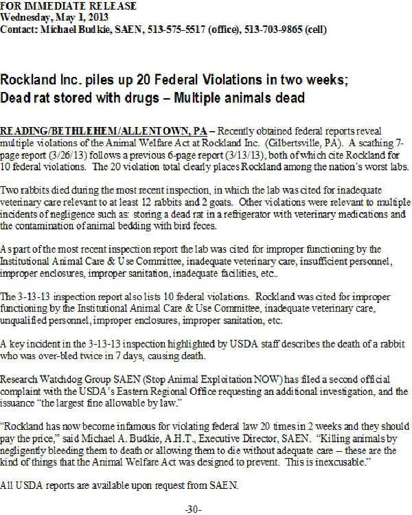 press release vivisection Rockland