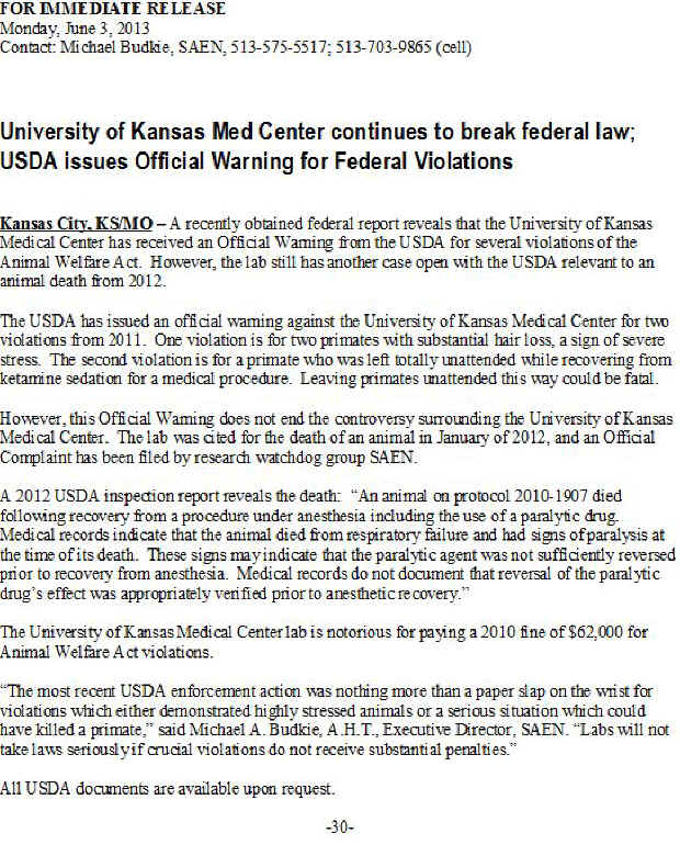SAEN Kansas violations